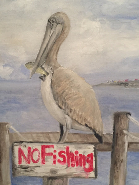 """No Fishing"" so cute original oil painting - JenniPaintings-FoundTreasures"