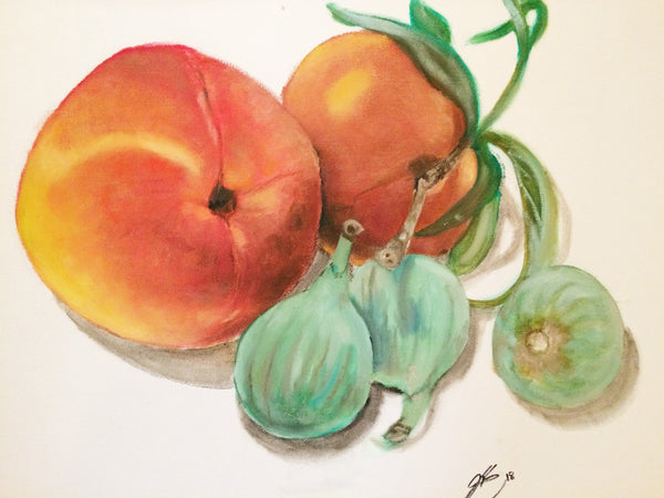 Peaches with Figs(Original Painting) -JenniPaintings Found Treasures
