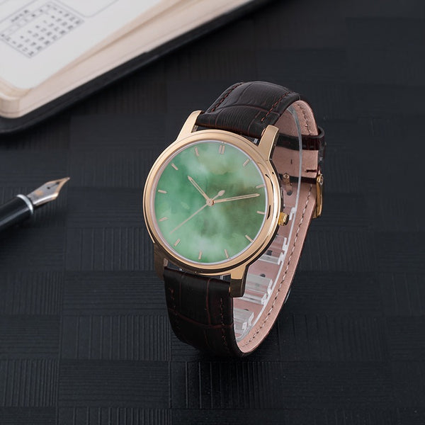 Waterproof Watch With Brown Genuine Leather Band(Green Haze) -JenniPaintings Found Treasures