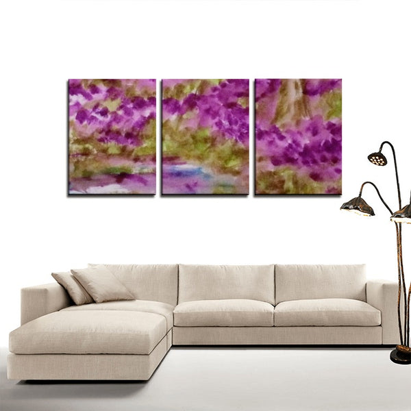 3 Panels Canvas Prints(Heather along the pond) - JenniPaintings-FoundTreasures