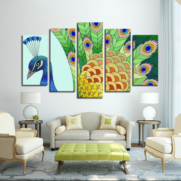 Pretty Peacock(5 Panels Canvas Print)