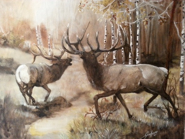 Large bull elk original painting