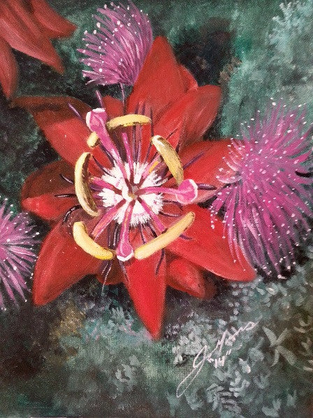 Christmas Passion Flower - JenniPaintings