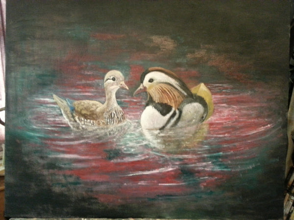 Cute Little Pair(Mandarin Ducks)(Original Painting)