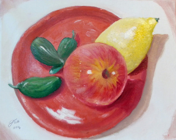 Gala Apples lemon and chili peppers - JenniPaintings