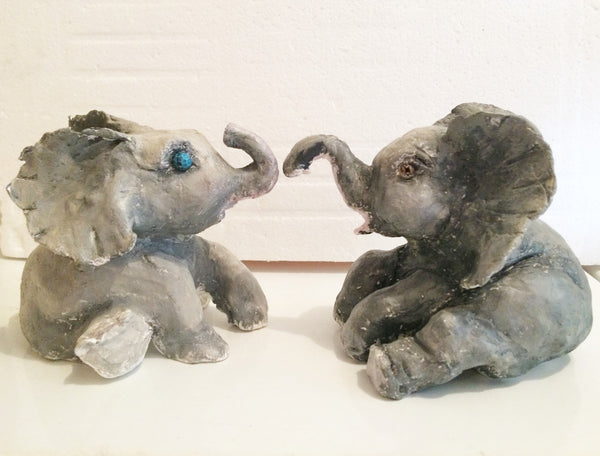 Clay Babies Twin Elephants(Clay Figurines) - JenniPaintings-FoundTreasures
