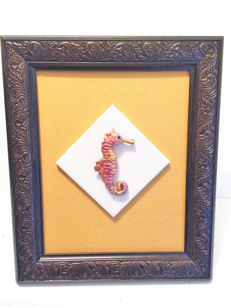 Sea horse Tile(Ceramic framed art) -JenniPaintings Found Treasures