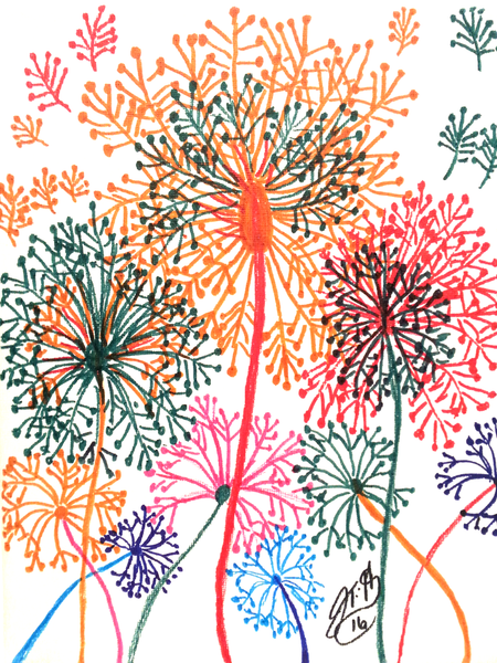 Abstract Dandelion(Marker Drawing) - JenniPaintings
