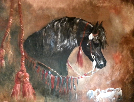 Black Arabian horse - JenniPaintings