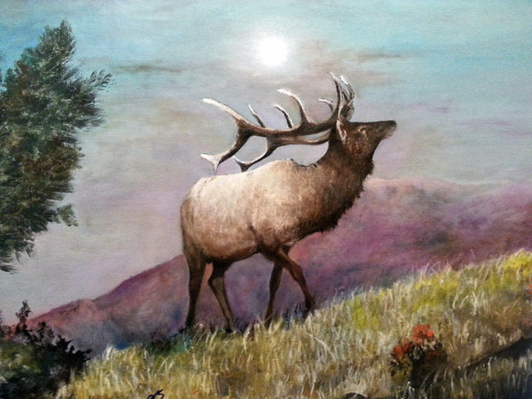 Caught the Scent On the Ridge(Original Painting) - JenniPaintings-FoundTreasures