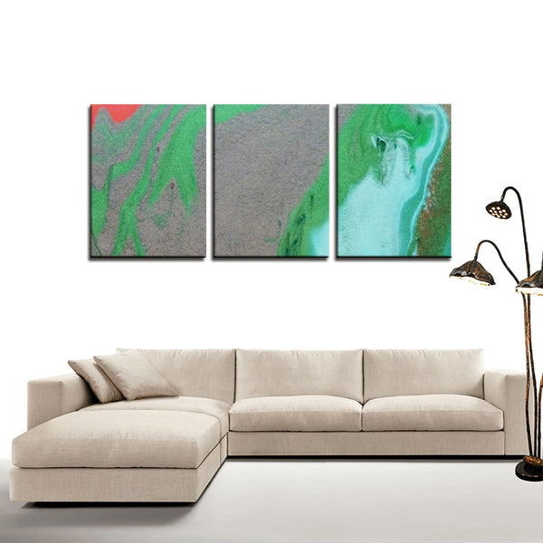 3 Panels Canvas Prints(Green Marble) - JenniPaintings-FoundTreasures