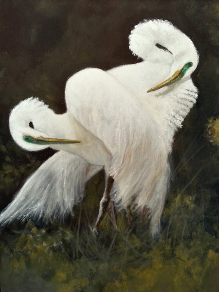 Beautiful Original Egret Painting in oil.