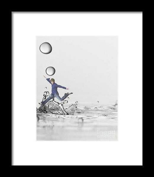 Jumping In - Framed Print -JenniPaintings Found Treasures