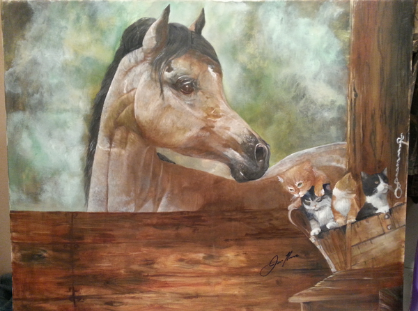 Mare and Kittens - JenniPaintings
