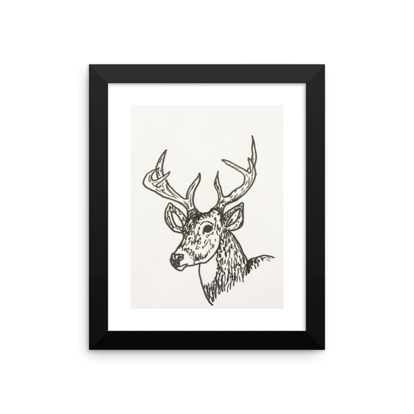 Framed poster print(Buck in Ink) - JenniPaintings