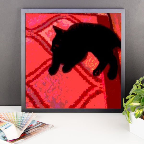 Framed poster print(Cat on a Rug)