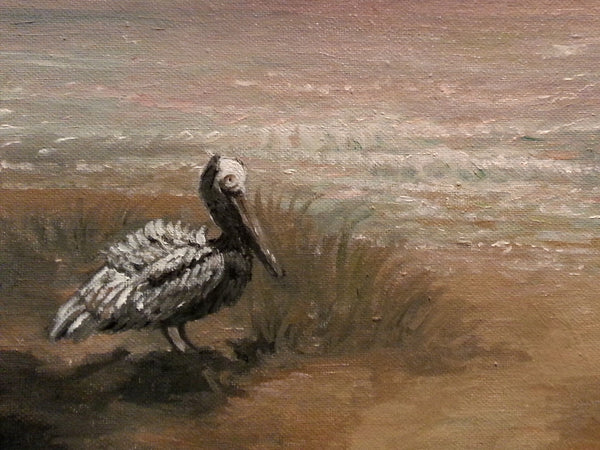 Pelican on Pink Bay - JenniPaintings