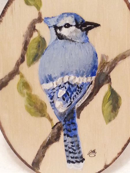The Blue Jay(Wood Art) -JenniPaintings Found Treasures
