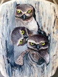 Three Owls(French corner wood plaque) -JenniPaintings Found Treasures