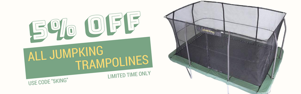 5% Percent Off All JumpKing trampolines with net enclosures on sale best price available online with free shipping and no sales tax