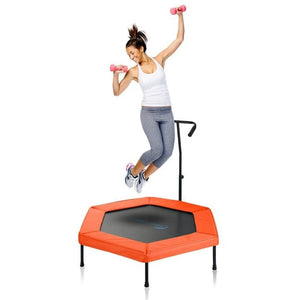 "Upper Bounce 50"" Hexagonal Fitness Mini-Trampoline T-Shaped Adjustable Hand Rail"