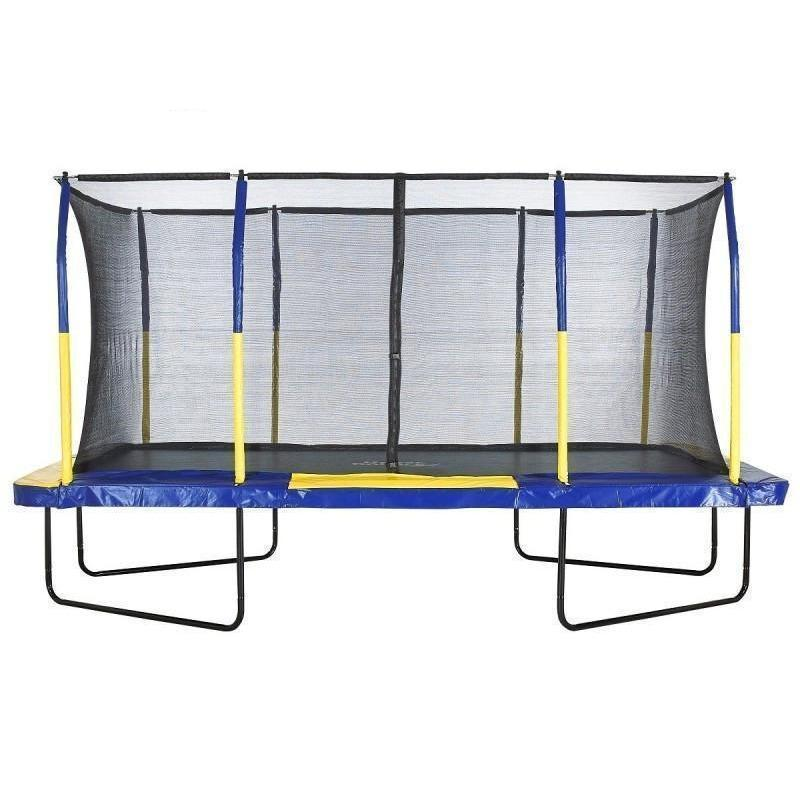 Upper Bounce Easy Assembly Mega 9ft X 15ft Rectangular Trampoline with Fiber Flex Net Enclosure For Sale Available at the best price online with free shipping and no sales tax