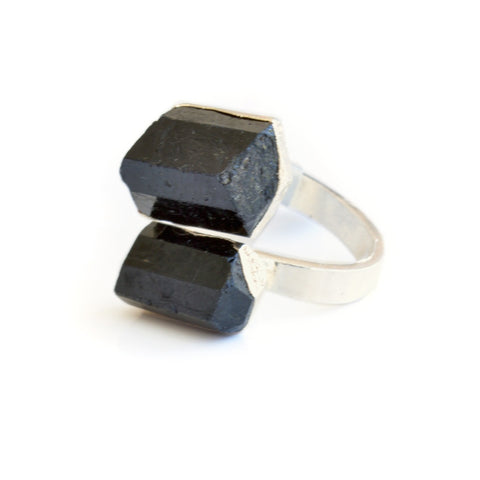 Black Tourmaline Silver Statement Ring