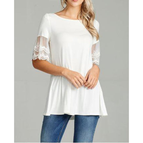 Mesh Trim Lace Sleeve