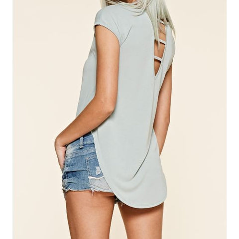 Cap Sleeve Cutout Back Top