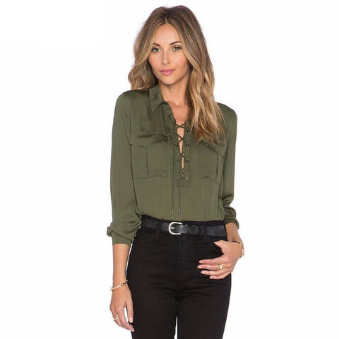 Willow Trim-Line Lace-up Shirt