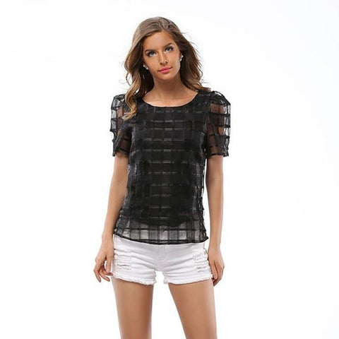 Tammy Sheer Checkered Blouse