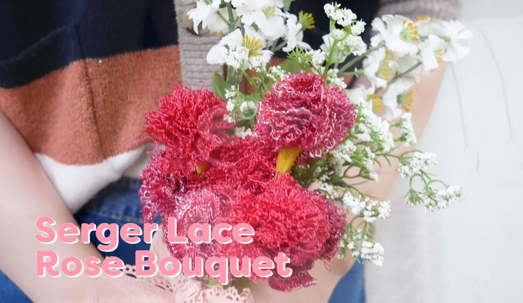 Serger Lace Rose Bouquet Using Scrap Fabric