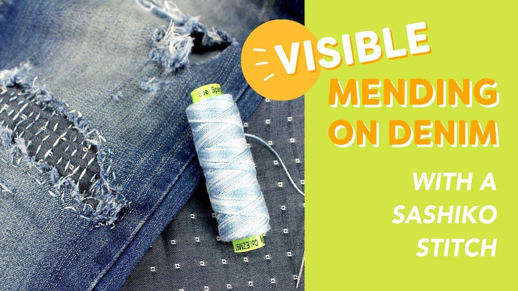 Visible Mending on Denim with a Sashiko Stitch