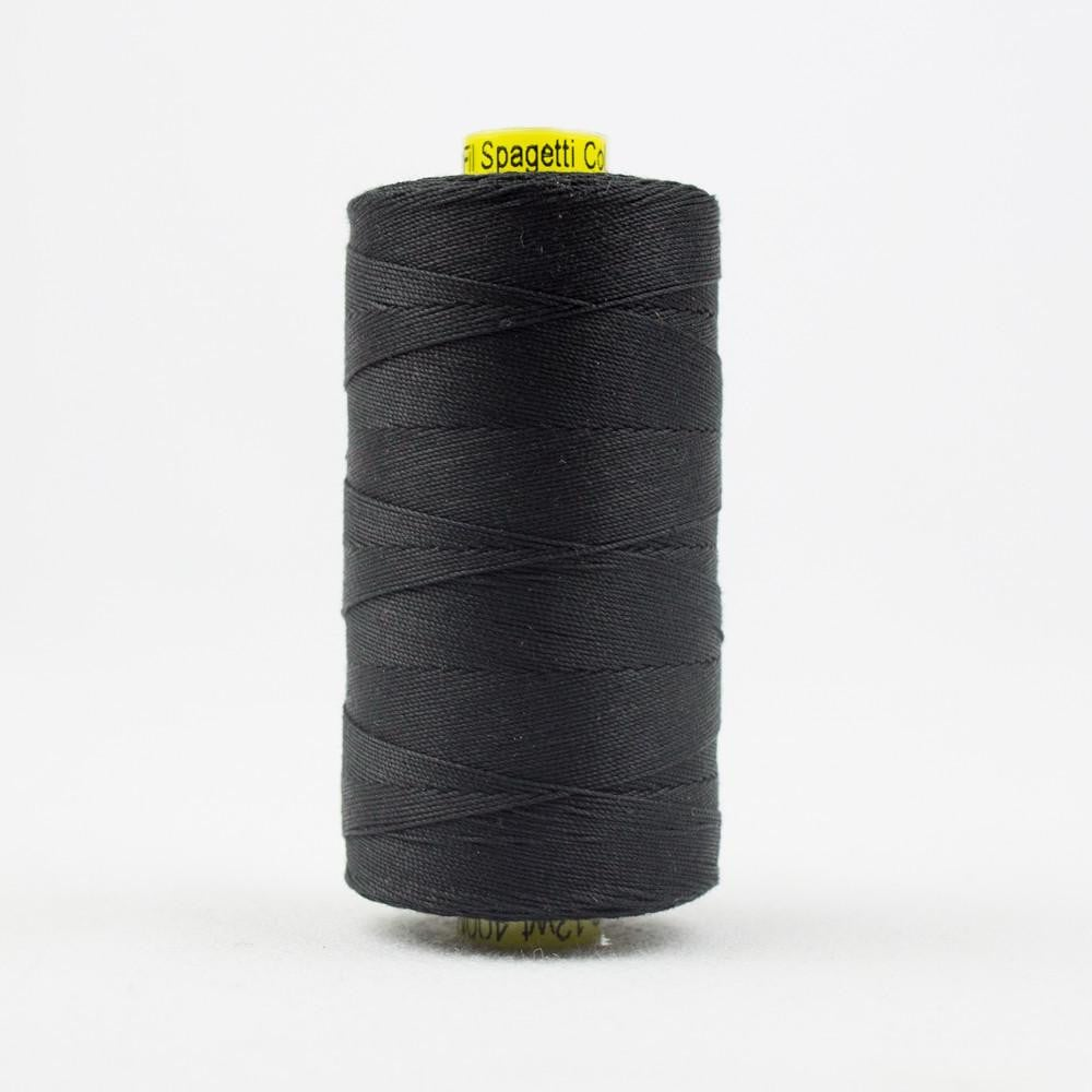 SP200 - Spagetti 12wt Egyptian Cotton Black Thread - wonderfil-online-eu