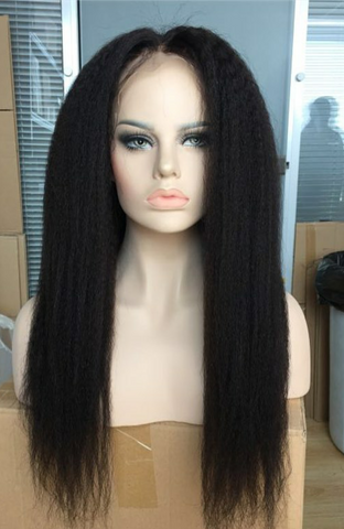Yaki Straight  natural black Lace front wig