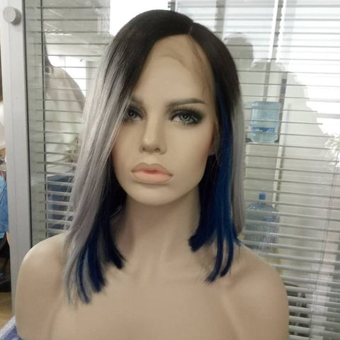 Straight Ash grey/blue Lace Front Wig