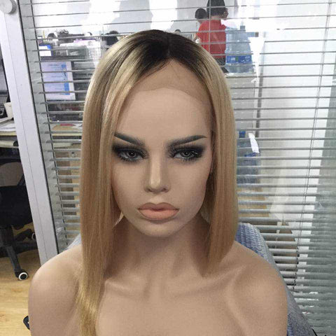 Straight blonde #1b/27 Lace Front wig
