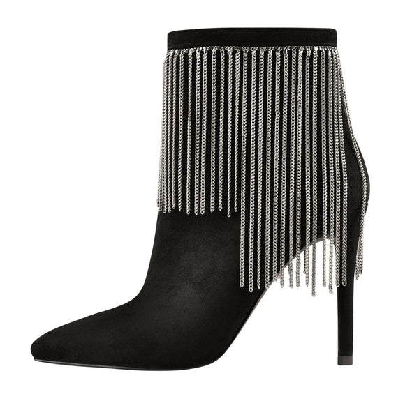 Pointed Toe Ankle Boots with Fringe Metal Chains