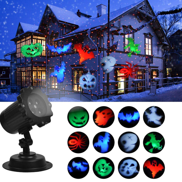 KMASHI Halloween Decoration Light, Projector Lights Show with Red Laser, Led Landscape Super Bright Spotlight, Waterproof Automatic Rotating Outdoor and Indoor Decoration Holiday Lights