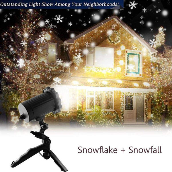 KMASHI Christmas Projector Light, Snowflake Projector Light Snowfall Light Fairy Light Show Waterproof Rotating Spotlight Projection for Christmas Halloween Party Wedding Outdoor Garden Decorations