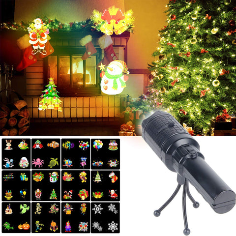 KMASHI Christmas Projector Lights, Battery Operated Projection Flashlight with 12 Changeable Pattern Slides, Kids' Handheld Projector Festival Decoration for Xmas, Halloween, Easter,Birthday and Party