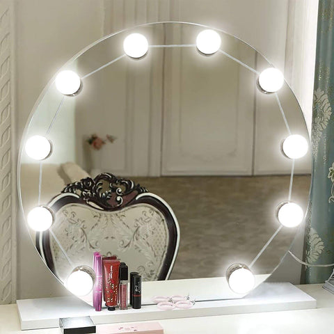 KMASHI Vanity Mirror Lights, LED Makeup Vanity Light Kit with 10 Cosmetic Dressing Bulb Hollywood Style, USB Power Supply 7000K Dimmable Lighting Fixture Strip Vanity Set in Dressing Room