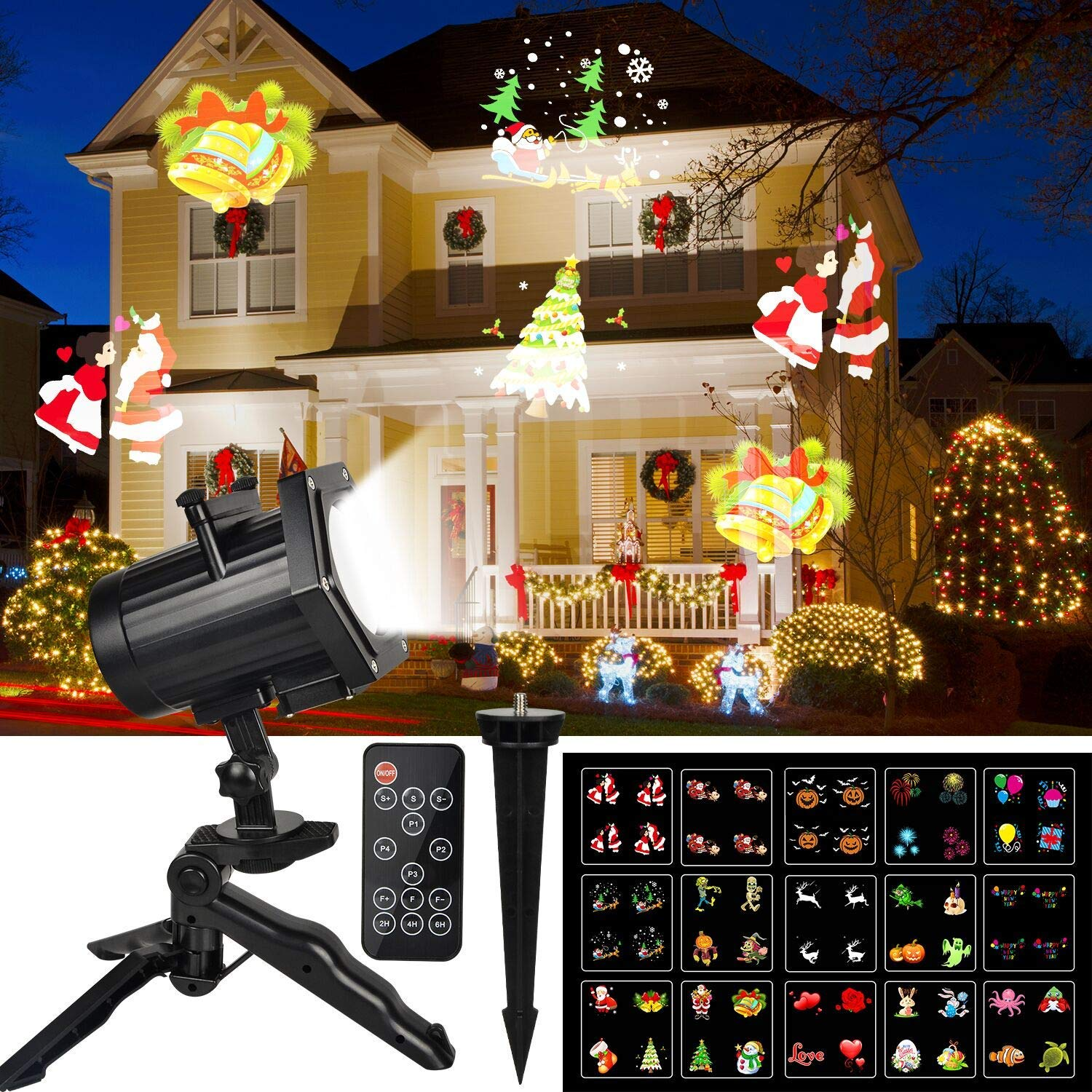 kmashi christmas light dynamic outdoor christmas projector light 15 s kmashi christmas light dynamic outdoor christmas projector light 15 switchable pattern rf remote control and timer waterproof holiday decoration