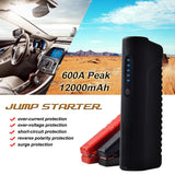 KMASHI Car Jump Starter 600A Peak Current 12000mAh Portable Power Bank