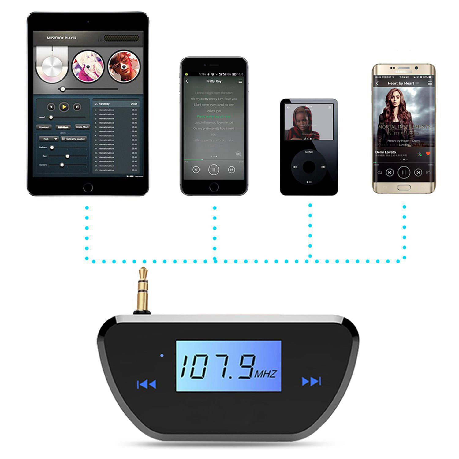 Kmashi Wireless Fm Transmitter Radio Car Kit With Audio Plug Usb Portable Charger