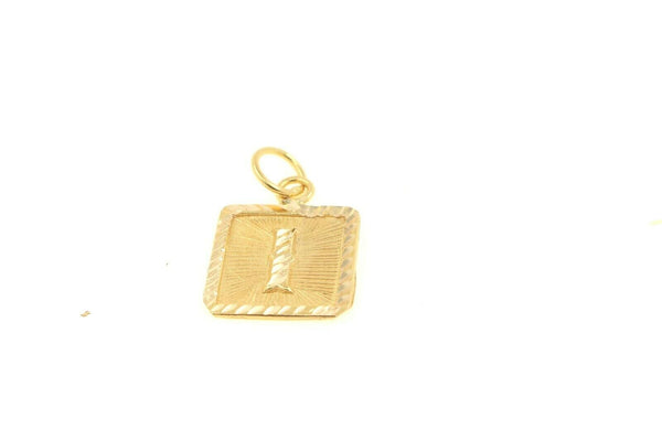 22k 22ct Solid Gold Charm Letter I Pendant Square Design p1111 ns