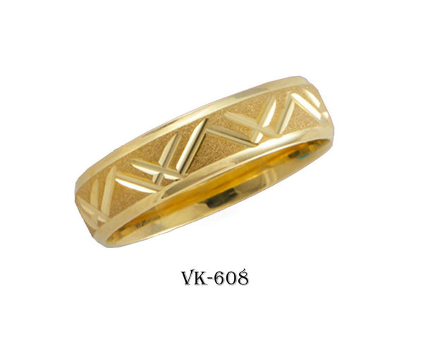 14k Solid Gold Elegant Ladies Modern Machine Finish Flat Band 5mm Ring VK608v(Y)