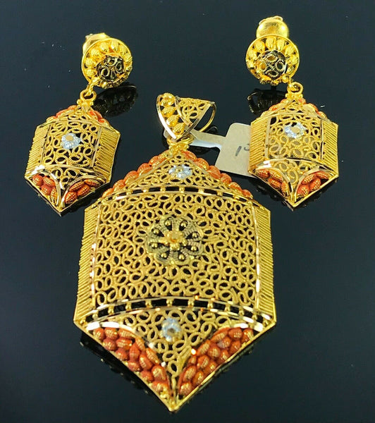 22k Pendant Set Solid Gold Ladies Classic Filigree Floral Two Tone Design P3012