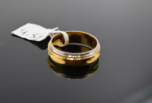 18k Ring Solid Gold Ring Ladies Simple Two Tone Band R1844