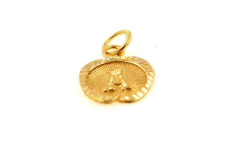 22k 22ct Solid Gold Charm Letter A Pendant Apple Design p1214 ns
